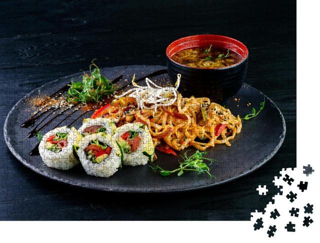"""Puzzle 1000 Teile """"Asiatisches Essen mit Nudeln, Huhn und Sushi"""""""