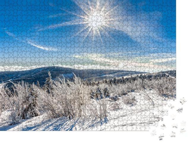 """Puzzle 1000 Teile """"Winterliche Landschaft bei Oberwiesenthal in Deutschland"""""""