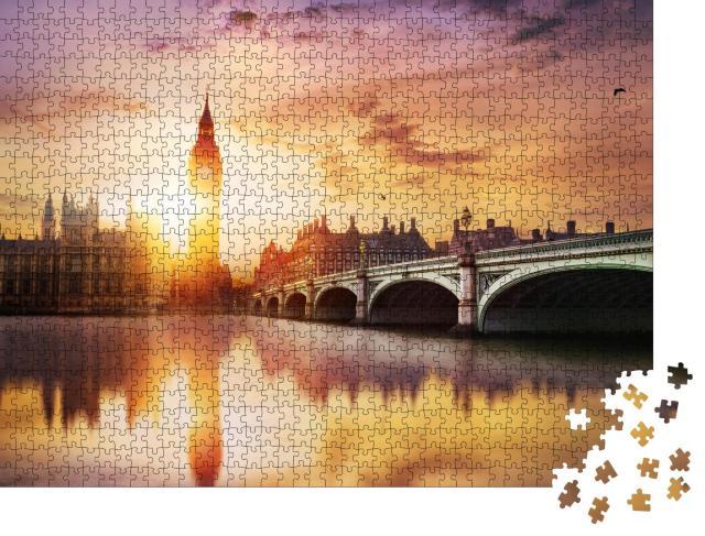 """Puzzle 1000 Teile """"Big Ben und Westminster Bridge in der Abenddämmerung, London, England"""""""