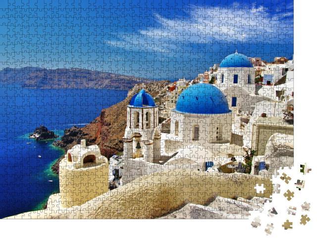 """Puzzle 1000 Teile """"Blick auf Caldera mit Kuppeln, Santorini"""""""