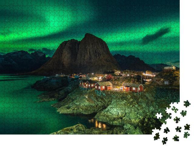 """Puzzle 1000 Teile """"Wunderschöne Nordlichter in Norwegen"""""""