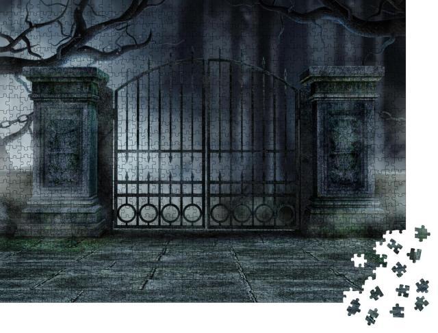 """Puzzle 1000 Teile """"Eisernes Tor, umgeben von alten, verdorrten Bäumen"""""""