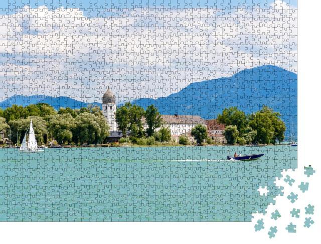 """Puzzle 1000 Teile """"Fraueninsel, Frauenchiemsee am Chiemsee mit Boot, Bayern, Deutschland"""""""