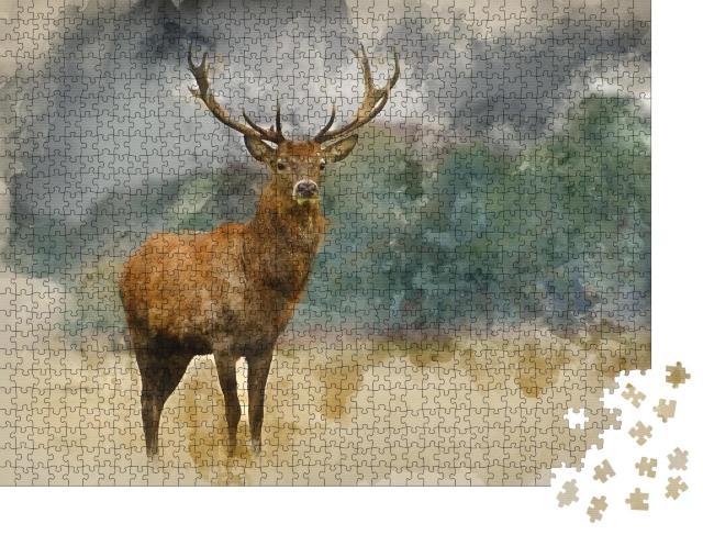 """Puzzle 1000 Teile """"Aquarell Malerei: Porträt eines majestätischen Rothirsches """""""