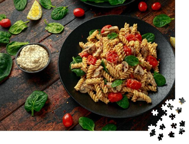 """Puzzle 1000 Teile """"Cremige Hummus-Pasta mit Pilzen und gebratenen Tomaten"""""""