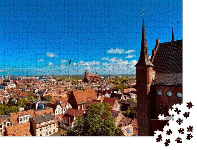 """Puzzle 1000 Teile """"Blick über Wismar von der Spitze der Georgienkirche"""""""