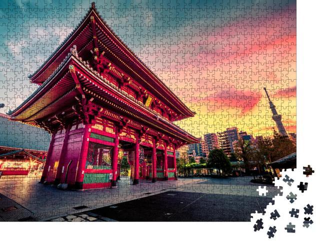 """Puzzle 1000 Teile """"Tokio: Sensoju-Tempel, im Hintergrund der Tokyo Skytree"""""""
