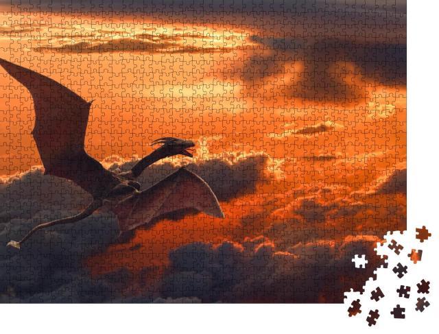 """Puzzle 1000 Teile """"Drache fliegt über orangefarbene Wolken bei Sonnenuntergang"""""""