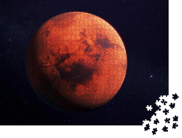 """Puzzle 1000 Teile """"Mars, der rote Planet, 3D-Rendering mit Oberflächenmerkmalen"""""""