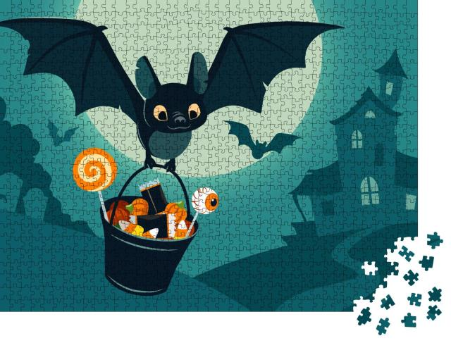 """Puzzle 1000 Teile """"Vektor-Illustration: Niedliche Fledermaus mit Süßigkeiten"""""""