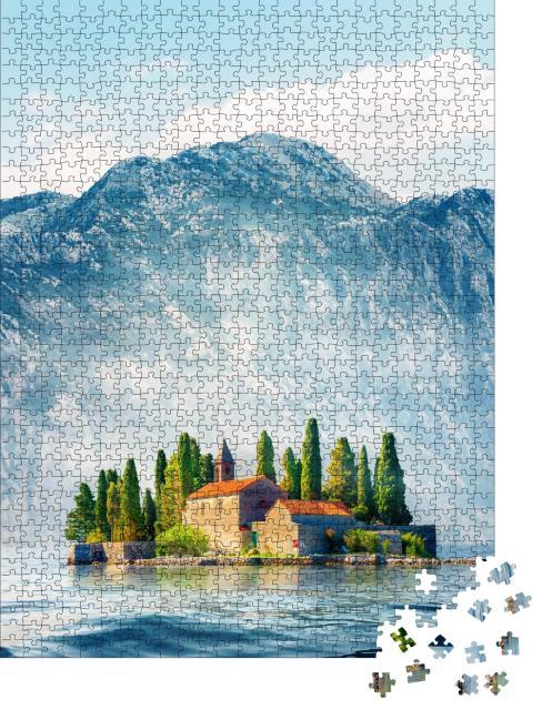 """Puzzle 1000 Teile """"Landschaft der St. George Insel, Bucht von Kotor, Montenegro"""""""