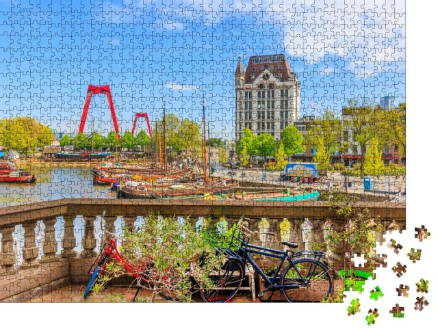 """Puzzle 1000 Teile """"Blick auf den Oude Haven in Rotterdam"""""""