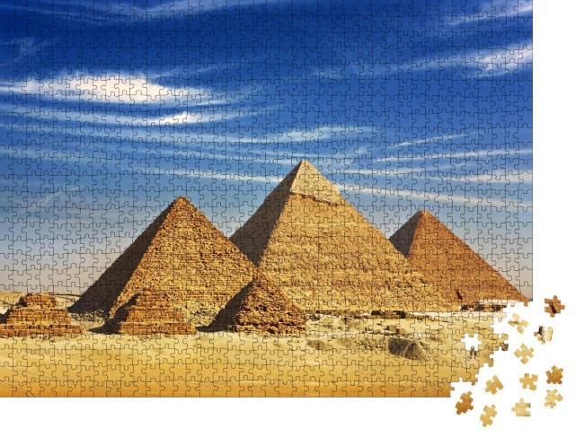 """Puzzle 1000 Teile """"Gesamtansicht der Pyramiden vom Gizeh-Plateau, Ägypten"""""""