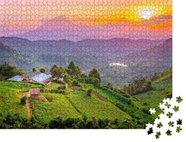 """Puzzle 1000 Teile """"Unglaubliche Landschaft und Farben: Sonnenuntergang in Kisoro, Uganda"""""""