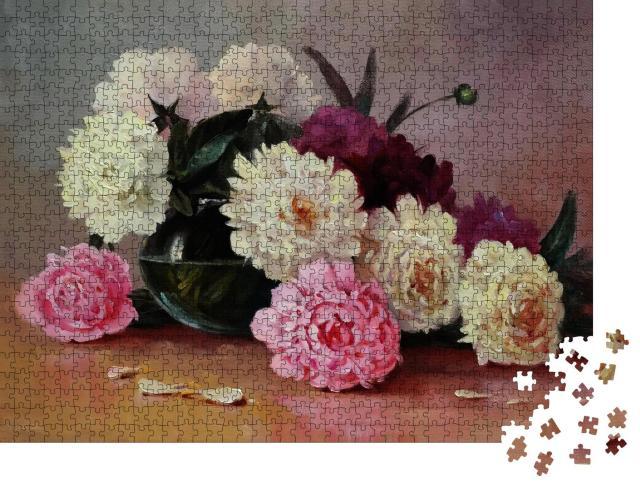 """Puzzle 1000 Teile """"Weiße und rosa Pfingstrosen in einer Glasvase, Ölgemälde auf Leinwand, Kunst"""""""