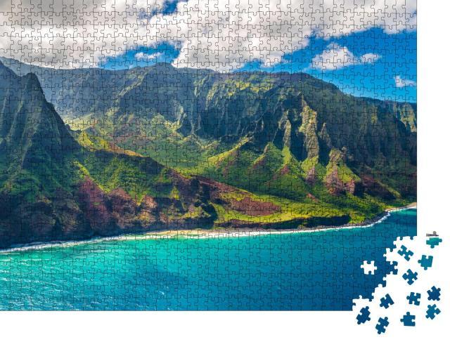 """Puzzle 1000 Teile """"Blick auf die Napali-Küste auf der Insel Kauai auf Hawaii"""""""