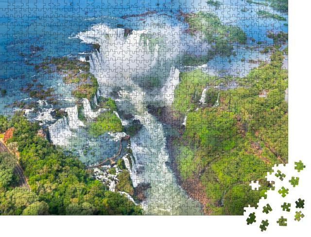 """Puzzle 1000 Teile """"Iguazu-Wasserfälle vom Hubschrauber aus, Naturwunder aus Brasilien"""""""