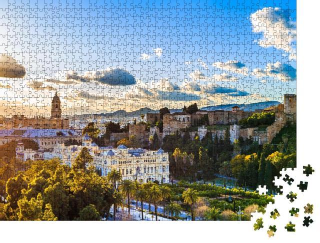 """Puzzle 1000 Teile """"Sonnenuntergang mit Blick auf die Kathedrale von Malaga"""""""