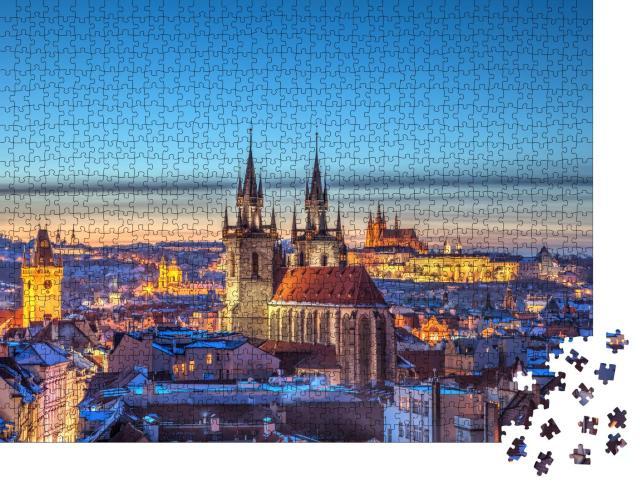 """Puzzle 1000 Teile """"Blick über das historische Zentrum von Prag"""""""