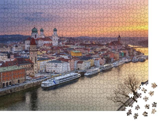 """Puzzle 1000 Teile """"Passauer Skyline bei Sonnenuntergang, Bayern, Deutschland"""""""