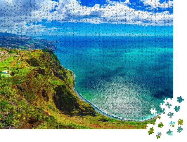 """Puzzle 1000 Teile """"Luftaufnahme vom höchsten Punkt auf Madeira: Cabo Girao, Portugal"""""""