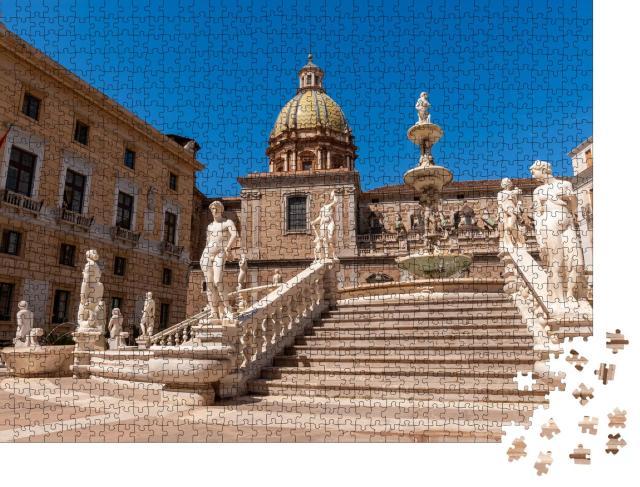 """Puzzle 1000 Teile """"Fontana Pretoria auf der Piazza Pretoria in Palermo, Sizilien"""""""