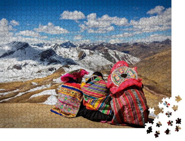"""Puzzle 1000 Teile """"Peru: Menschen besichtigen die Anden und ihre Landschaft"""""""