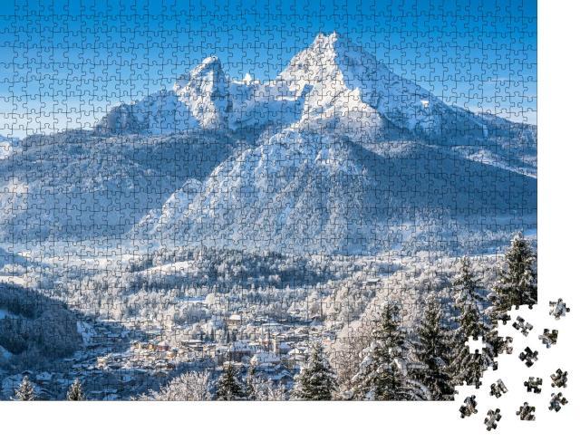 """Puzzle 1000 Teile """"Berchtesgaden und Watzmann-Massiv im Winter"""""""