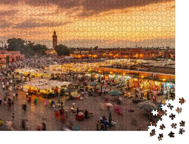 """Puzzle 1000 Teile """"Abendlicher Jamaa el-Fna-Marktplatz, Marrakesch, Marokko"""""""