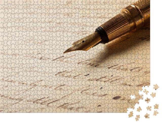 """Puzzle 1000 Teile """"Füllfederhalter auf einem antiken Brief"""""""