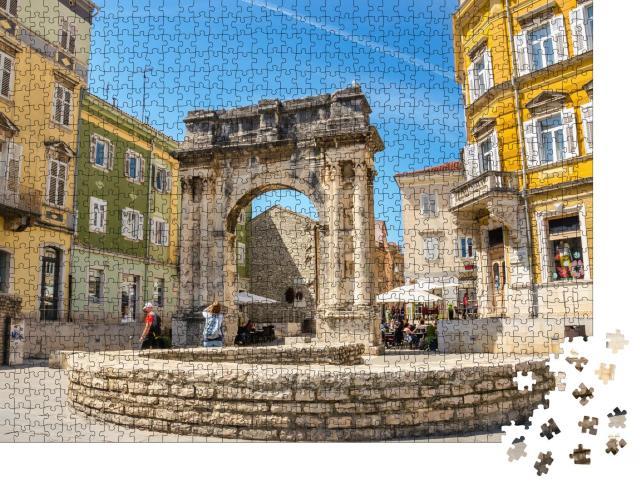 """Puzzle 1000 Teile """"Antiker römischer Triumphbogen oder Goldenes Tor, Pula, Kroatien"""""""