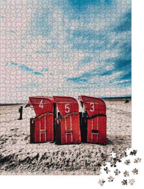 """Puzzle 1000 Teile """"Strandkörbe auf Borkum, Deutschland"""""""