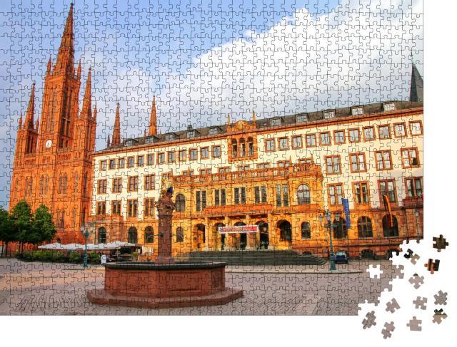 """Puzzle 1000 Teile """"Schlossplatz mit Marktkirche und Neuem Rathaus in Wiesbaden, Hessen, Deutschland"""""""