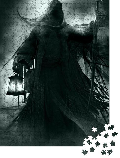 """Puzzle 1000 Teile """"Gothic-Illustration: Sensemann mit Laterne"""""""