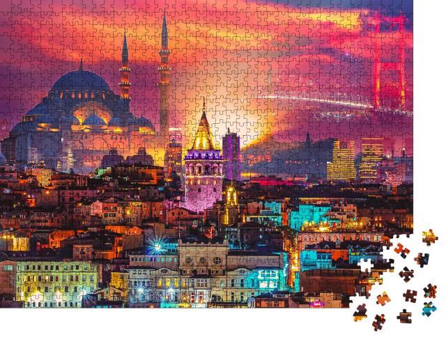 """Puzzle 1000 Teile """"Wunderschön beleuchtete Skyline von Istanbul, Türkei"""""""