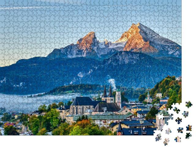 """Puzzle 1000 Teile """"Watzmann und die Stadt Berchtesgaden in den bayerischen Alpen, Deutschland"""""""