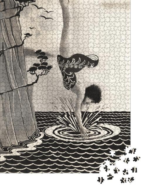 "Puzzle 1000 Teile ""Junge Frau taucht ins Wasser, Sprung vom Felsen, Illustration"""