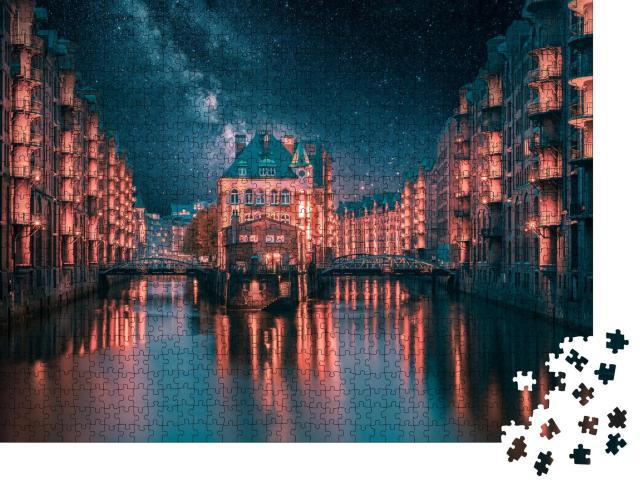 """Puzzle 1000 Teile """"Milchstraße über der beleuchteten Speicherstadt in Hamburg"""""""