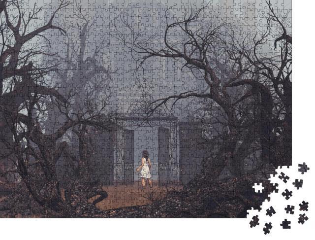 """Puzzle 1000 Teile """"Illustration: Mädchen am Spukhaus"""""""