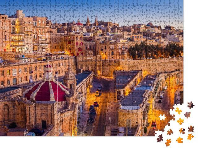 """Puzzle 1000 Teile """"Malta: Die Hauptstadt Valletta im Sonnenaufgang"""""""