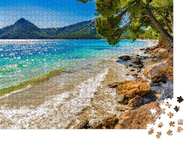 """Puzzle 1000 Teile """"Wunderschöne Küste von Platja de Formentor, Mallorca"""""""