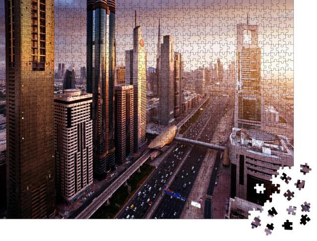 """Puzzle 1000 Teile """"Skyline von Dubai in der Zeit des Sonnenuntergangs, Vereinigte Arabische Emirate"""""""
