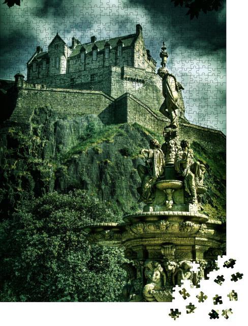 "Puzzle 1000 Teile ""Aufnahme von Edinburgh Castle, Vintage-Look"""
