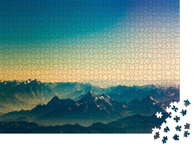 """Puzzle 1000 Teile """"Majestätische Gipfel des Himalaya-Gebirges im Sonnenuntergang"""""""