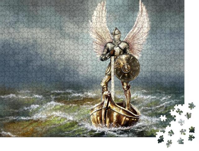 """Puzzle 1000 Teile """"Digitale Ölgemälde: Meer, Engel mit Schild und mittelalterlichem Schwert"""""""