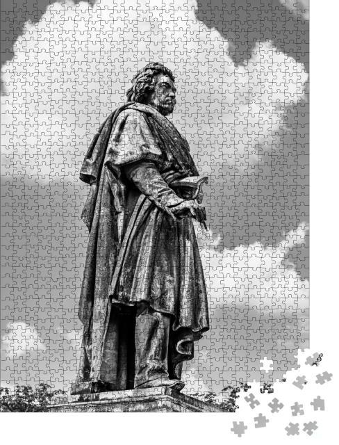 """Puzzle 1000 Teile """"Beethoven-Denkmal in Bonn, schwarz-weiß"""""""
