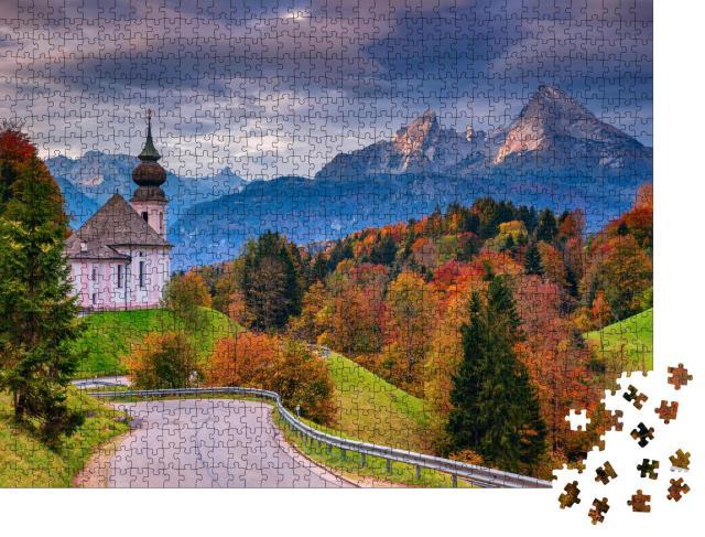 """Puzzle 1000 Teile """"Maria Gern Kirche und Watzmann im Herbst, Bayern, Deutschland"""""""