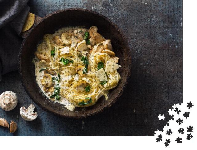 """Puzzle 1000 Teile """"Italienische Fettuccini mit Champignons und Spinat"""""""