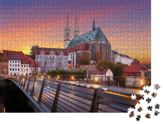 """Puzzle 1000 Teile """"Schöner Himmel undSonnenuntergang in Görlitz"""""""