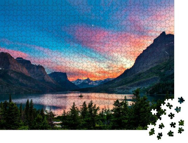 """Puzzle 1000 Teile """"Schöner farbenfroher Sonnenuntergang über dem St. Mary Lake """""""